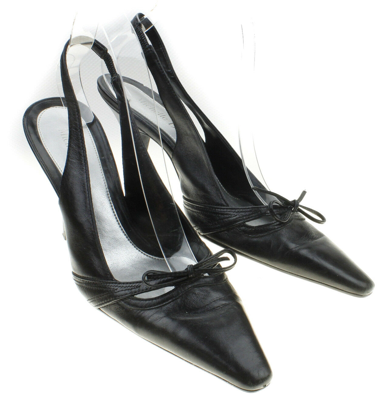 Michelle D Womens Black 8.5M Leather Slingback Heels Size 8.5M Black Bow Detail 2a2026