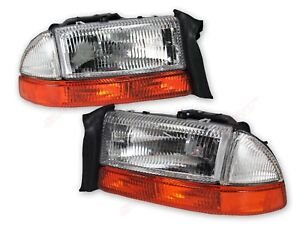 Pair OE Replacement Headlights + Park Signal Lights for 1998-2003 Dakota Durango
