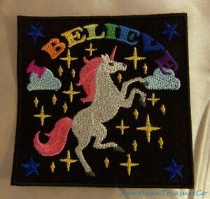 Embroidered-Unicorn-Rainbow-I-Believe-Fantasy-Fairytales-Black-Patch-Iron-On-USA