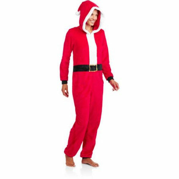 Santa Claus One Piece Hooded PJs Union Suit S to 3X Faded Glory Pajamas Costume
