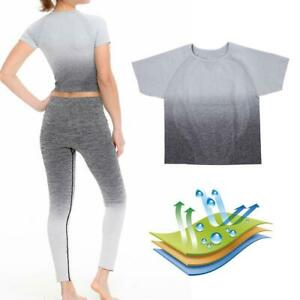 Femmes-a-manches-courtes-T-shirt-Gym-Sport-Entrainement-Yoga-Crop-Tops-Fitness-Running-SP