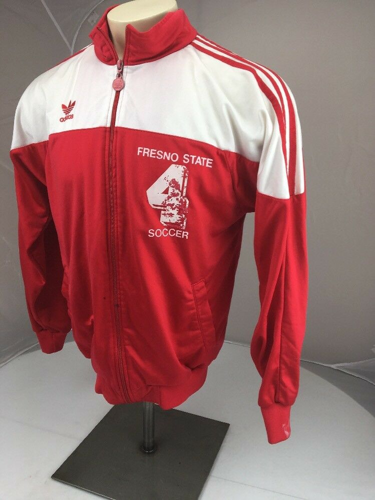 VTG Zipper 80s Adidas Red 3 stripe Fresno State Zipper VTG Front soccer Jacket Size Medium 658c49