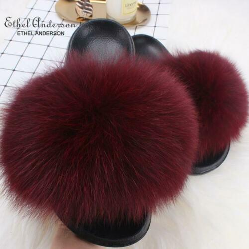 Women Real Fox Fur Slippers Fluffy Fur Slides Vogue Plush Casual Shoes