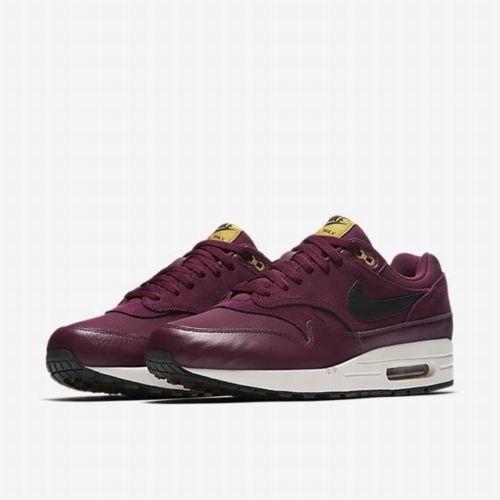 Mens Nike Air Max 1 Premium 875844-601 Bordeaux Black NEW Size 8