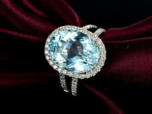 Solid-18K-White-Gold-Genuine-Natural-Sparkly-Aquamarine-Diamond-Very-Nice-Ring