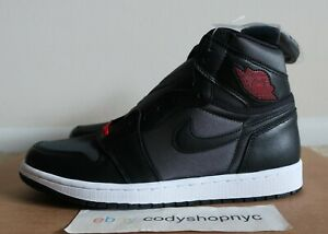DS-Nike-Air-Jordan-1-Retro-High-OG-Black-Satin-Gym-Red-size-10-Mens-i-555088-060