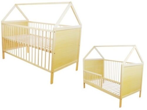 Scandinavian Style House Cot Bed White Pine Wooden Baby Mattress Convertable