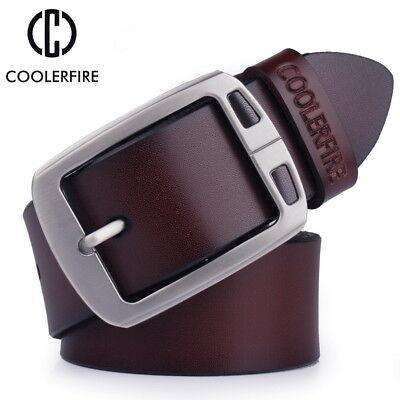 GENUINE LEATHER Men/'s Belt for Men Handmade 100/% Cowhide COOLERFIRE 100-135 cm