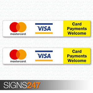2x-Card-Payments-Welcome-Printed-Vinyl-Stickers-MasterCard-VISA-Taxi-Shop-Sign