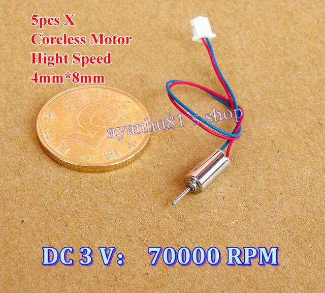 5pcs 4x8mm Ultrahigh Sd Dc 3v 70000rpm Micro Magnetic Coreless Motor Hm Diy
