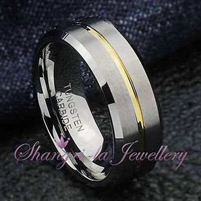 MENS TUNGSTEN CARBIDE GOLD LINE RING WEDDING ENGAGEMENT BAND NEVER TARNISH JS043
