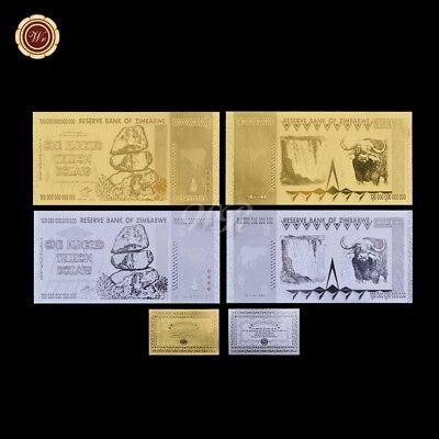 WR 24K Gold Foil Zimbabwe 100 Trillion Dollars Banknote Bundle 10pcs Set  //w COA
