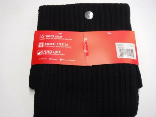 MENS CHAPS 2 PIECE HAT /& SCARF SET FLEECE LINED BLACK KNIT NEW #16644