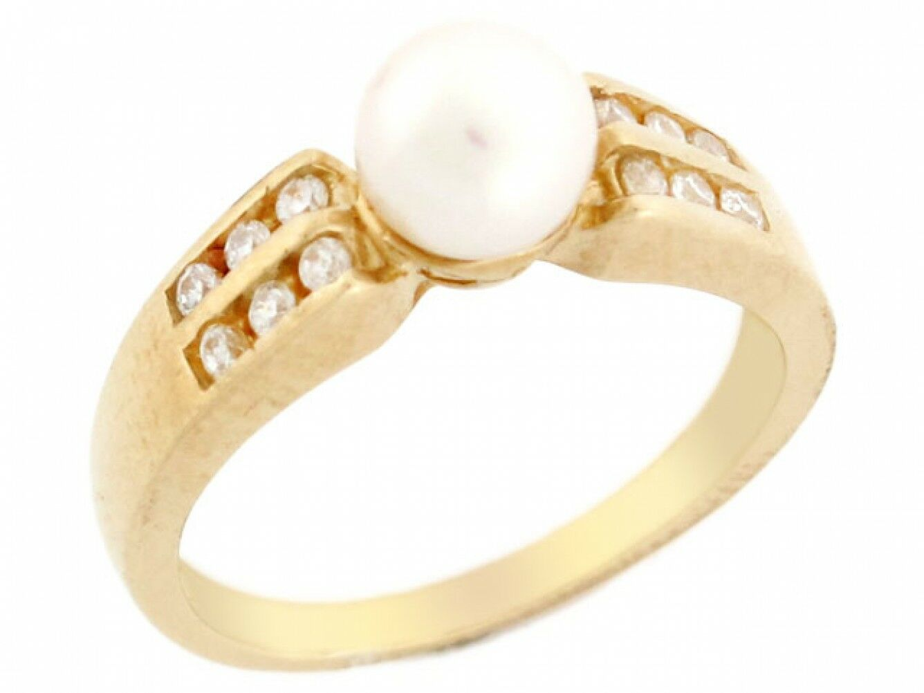10k or 14k Yellow gold Two Row Channel Set CZ & Freshwater Cultured Pearl Ring