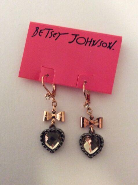 $30 Betsey Johnson  Euro Small Heart Bow Rose Gold Tone Drop Earnings  #501
