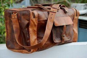 "Men/'s24/"" genuine Leather large vintage duffle travel gym weekend overnight bag"