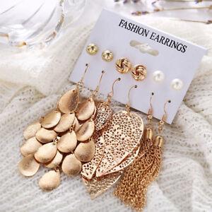 6Pairs-Set-Women-Gold-Leaves-Tassel-Drop-Dangle-Pearl-Ear-Stud-Hook-Earrings-Set