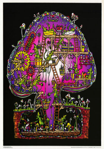 LOT OF 2 POSTERS:THEME MUSHROOM FACTORY BLACKLIGHT//FLOCKED #FL3294F  RC14 A
