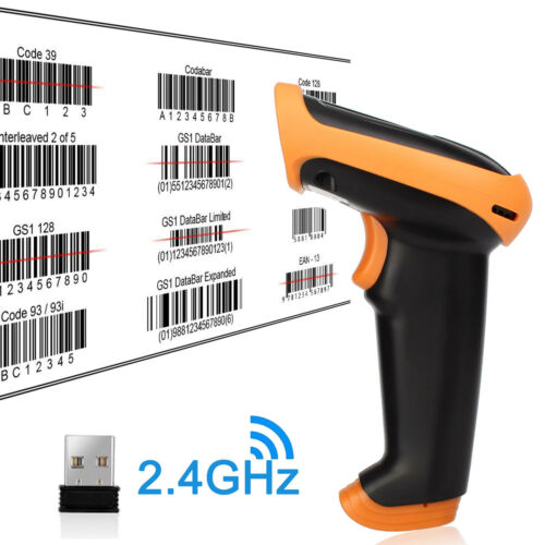 2 IN 1 USB Wired /& 2.4GHz Wireless Barcode Scanner Reader for Store Warehouse 1D