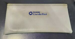 Chase Lincoln First Gray Bank Deposit Bag (Money Bag) With Zipper
