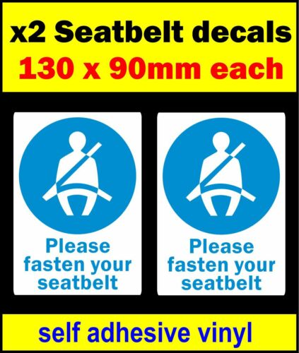 2 x Please Fasten Your Seat Belt stickers self adhesive vinyl sign car bus decal