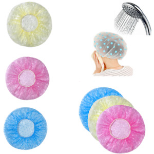 6Pcs Women Lady Waterproof Elastic Cute Dots Shower Bathing Salon Hair Cap Hat