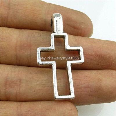 13606 10PCS Vintage Silver Tone Alloy Hollow Religious Faith Cross Pendant Charm