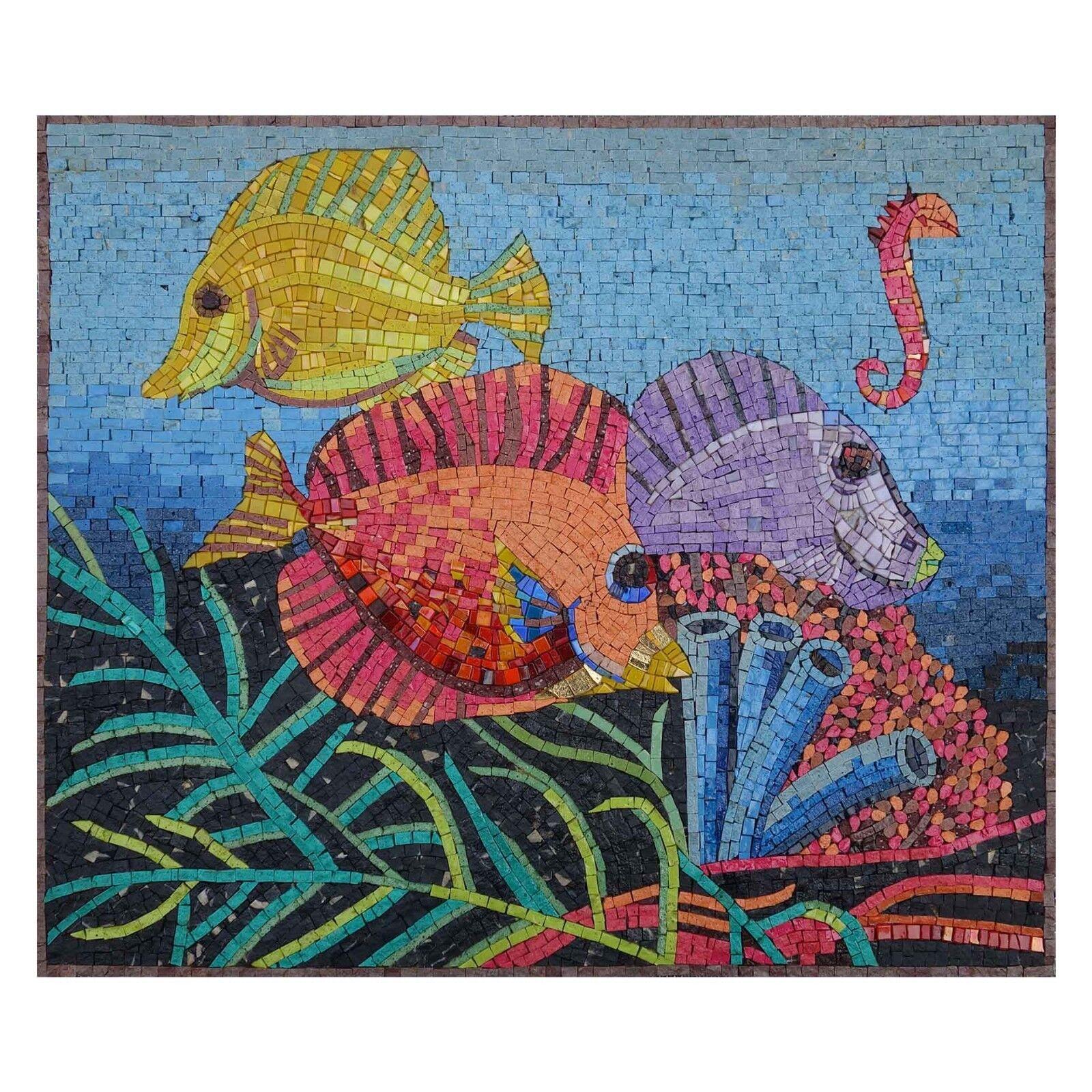 Pesci sotto l'oceano MultiColoreeee MOSAICO PIETRA PIETRA PIETRA MARMO FINE Wall Art cc3468