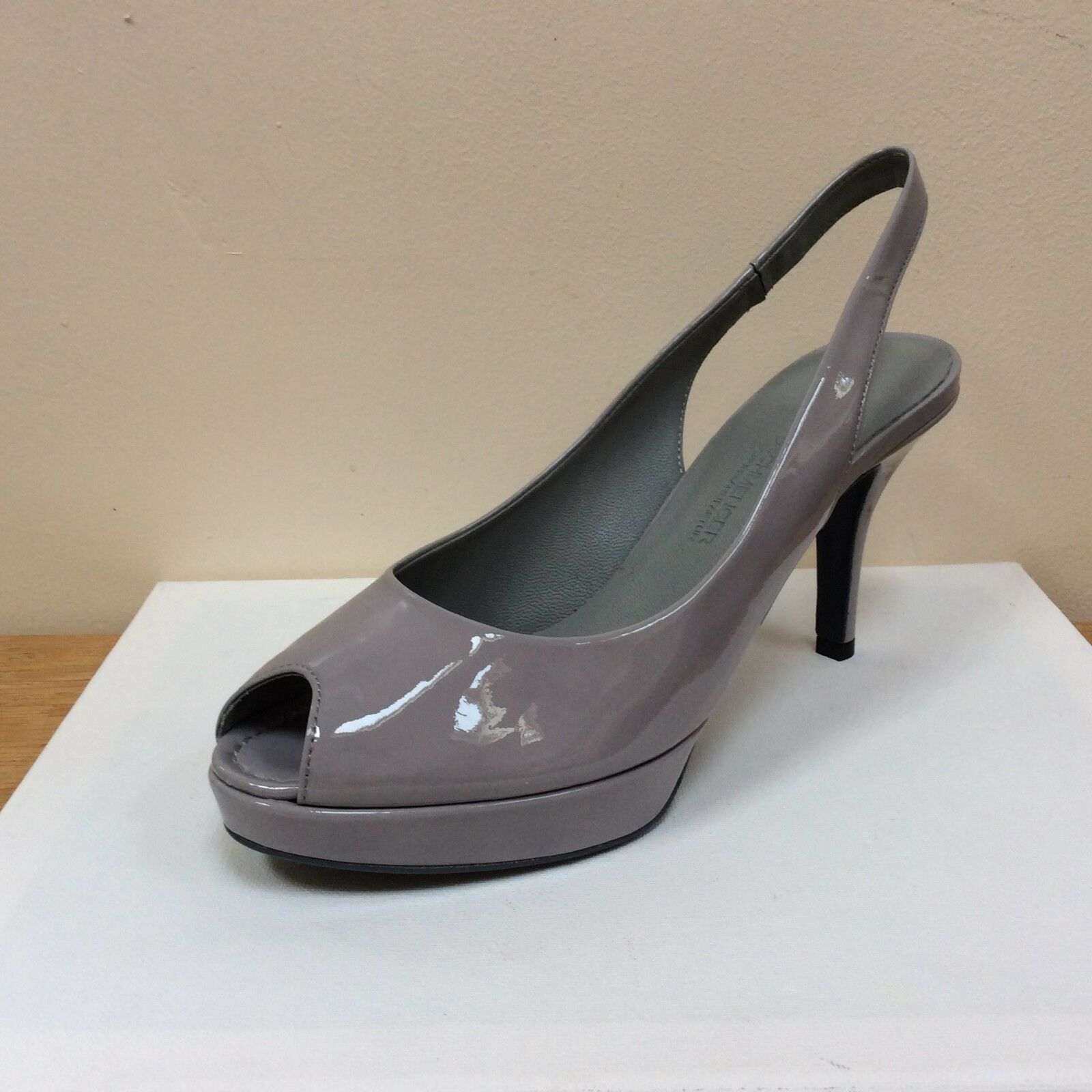 K&S Rose light gris-fog patent peep toe slings, UK 8 EU 41, BNWB