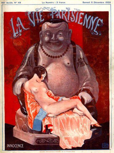 1925 La Vie Parisienne Innocence Girl Buddha Statue France French Travel Poster