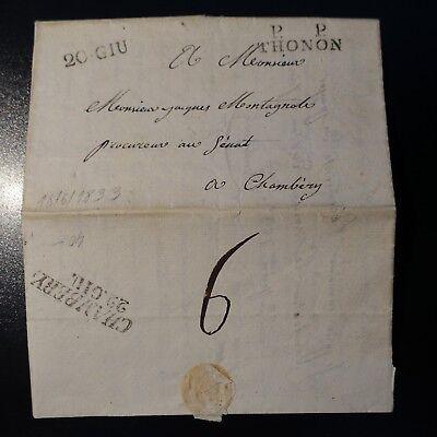 1833 Lettre Cover Marque Postale 20 Giu + Pp Thonon -> Chambery 22 Giu Om Jarenlange Probleemloze Service Te Garanderen