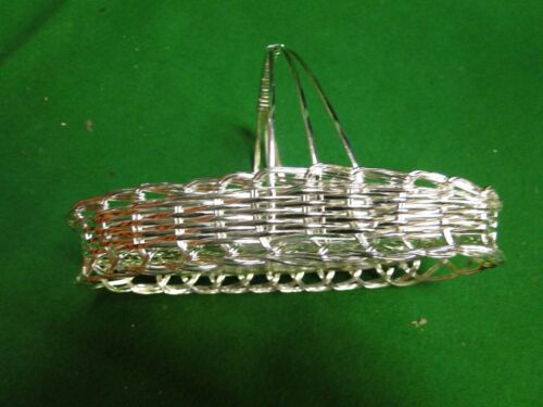 NOVELTY SALT AND PEPPER SHAKER IN A BASKET SILVER PLATED VINTAGE 1970S