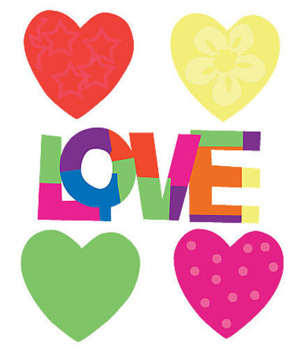 WALLIES LOVE HEARTS wall stickers 25 colorful prepasted decals decor patchwork
