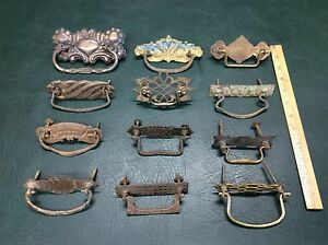 Miscellaneous Lot of 12 Antique Brass and Iron Ornate Drawer Pulls Handles
