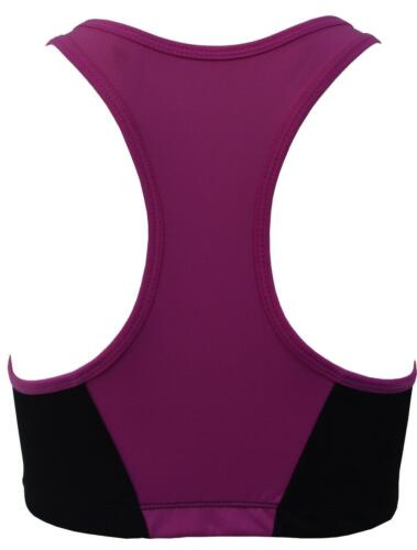 Ladies Front Zip Padded Sports Bra Medium High Impact Yoga Gym Running Vest Top