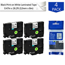 "4PK 0.47"" Label tape For Brother P-TOUCH TZ-231 TZe-231 Black on White 26.2ft"