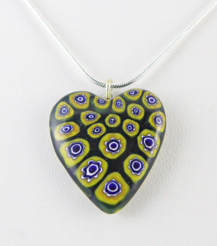 """Black /& Yellow Millefiori Necklace 29 X 24 mm 18/"""" Chain Silver Plated"""