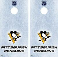 Nhl Ice Pittsburgh Penguins Cornhole Board Skin Wrap Decal Set Free Squeegee
