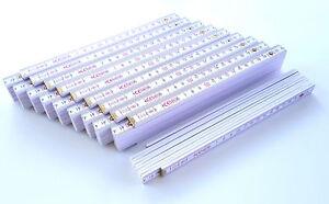 10-x-Qualitats-Zollstocke-2m-Weis-Winkelanzeige-Zollstock-Meterstab-Meterstabe