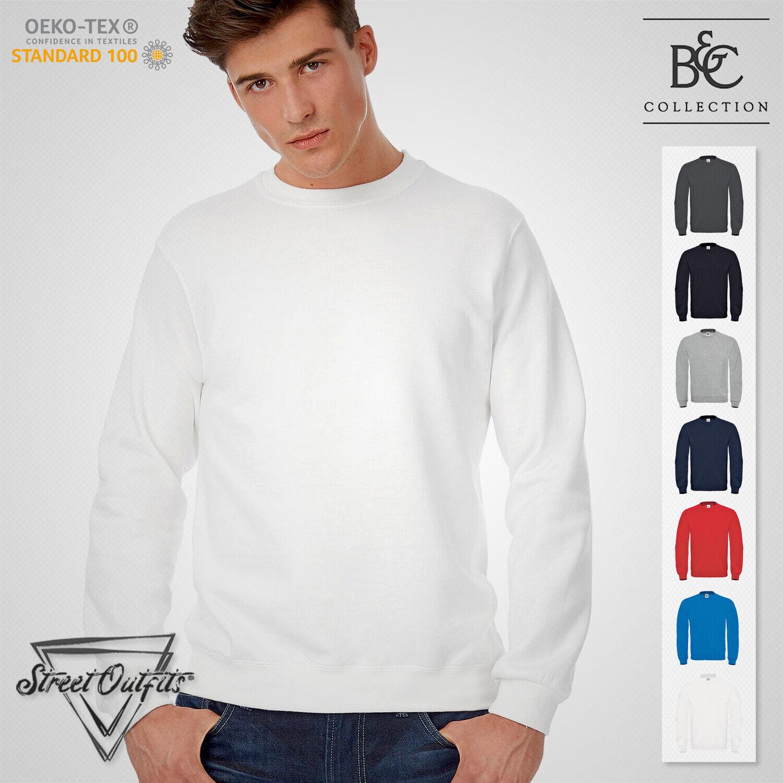 Mens Classic Crew Neck Sweatshirt B&C Soft Long Sleeve Jumper Sweat Premium Top