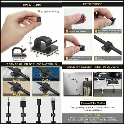 JIRVY Self Adhesive Cable Clips Black Management Wire Clip Cord Holder 100 Pack
