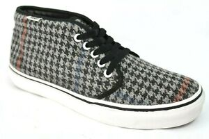 Vans-Mens-Wool-Lace-Up-Mid-Top-Sneakers-Houndstooth-Gray-Red-Black-T375-Size-9-5