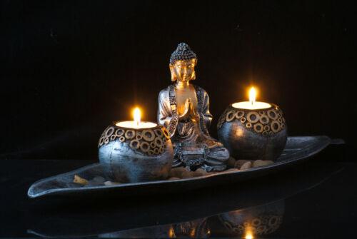 Thai Buddha Teelicht Set 40cm groß Budda Figur Feng Shui Lotussitz Statue  gold