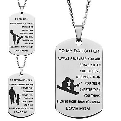 US Stainless Steel Military Dog Tag Mom/Dad To Son/Daughter Necklace Family  Gift | eBay