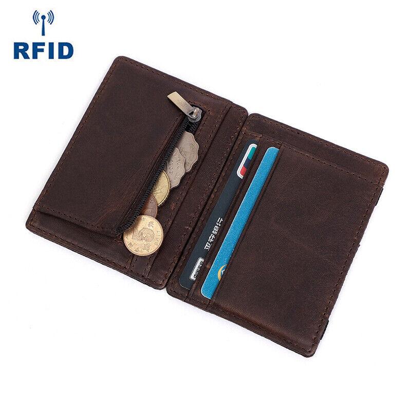 Front Pocket Slim Wallet Leather RFID Blocking ID Credit Card Holder Coin Purse