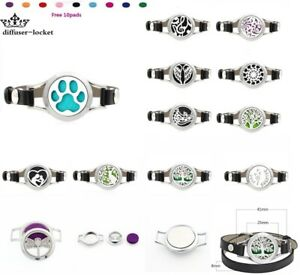 Pu Leather Stainless Steel Aroma Essential Oil Diffuser Locket Bracelet+10pads Aromatherapy Fashion Jewelry