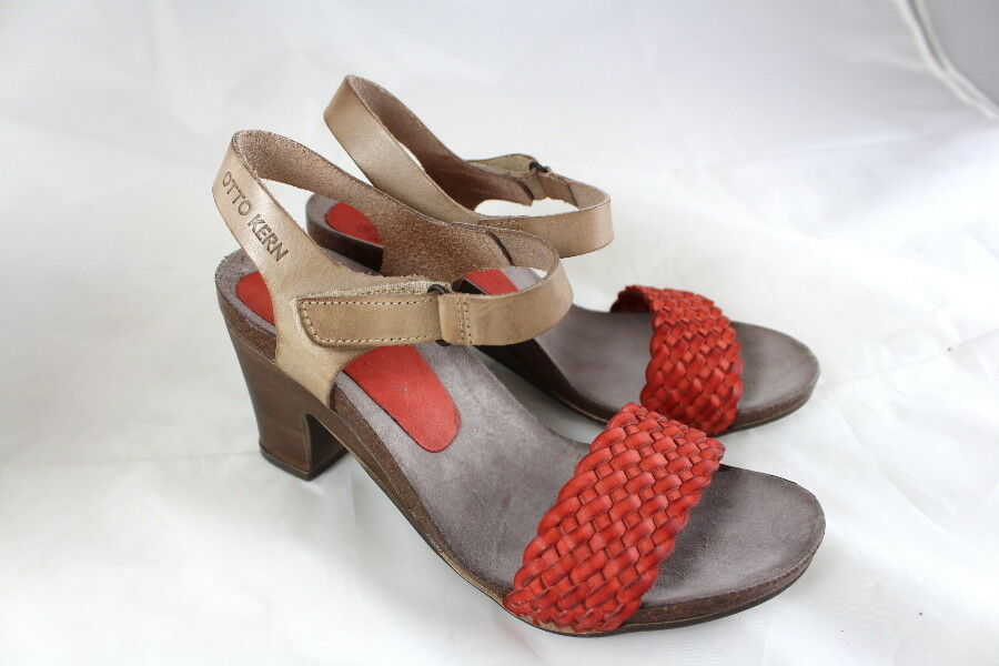 WOW Otto Kern Sandale Sandalette Leder koralle Blockabsatz Gr 37 NEU SALE X24