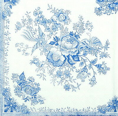 4x Paper Napkins -Blue Asiatic Pheasant - for Party, Decoupage Craft