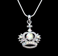 Crystal Crown Tiara Royal Princess King Queen Pendant Charm Necklace Silver Tone