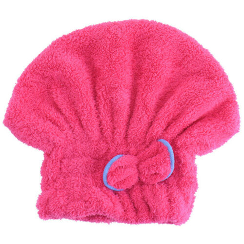 Rapid Drying Hair Absorbent Towel Cap Turban Wrap Soft Thick Shower Hat One Size